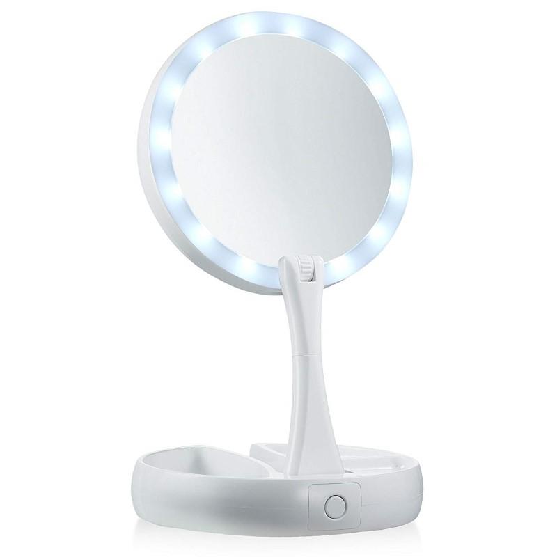 Αναδιπλούμενος καθρέφτης μακιγιάζ διπλής όψης με LED - OEM 53630