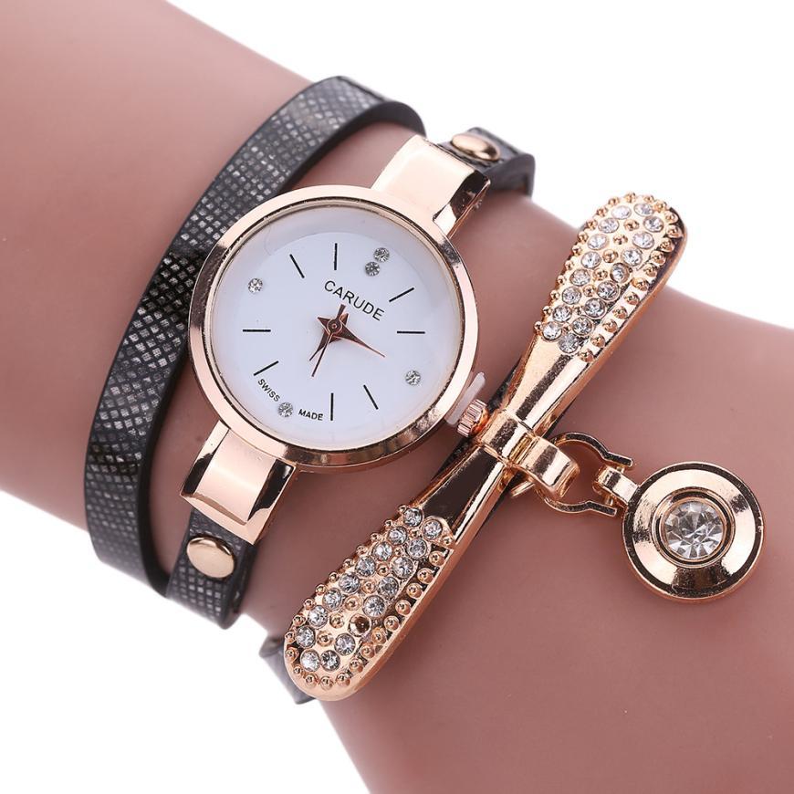 Γυναικείο ρολόι χειρός με βραχιόλι - Μαύρο - OEM 53672