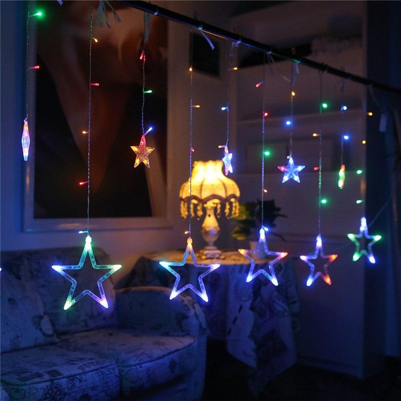 Κουρτίνα 3.3 μέτρα με αστέρια ασύμμετρα- Πολύχρωμος Φωτισμός - 1252 35116