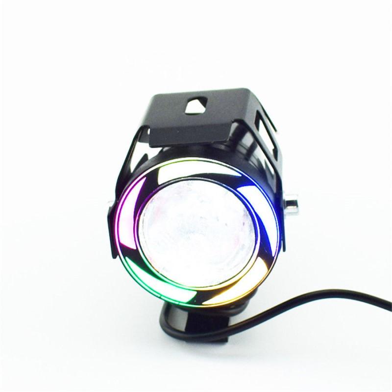 Προβολέας μοτοσυκλέτας Cree LED U7 με πολύχρωμη φωτιζόμενη στεφάνη 125W - OEM 54168