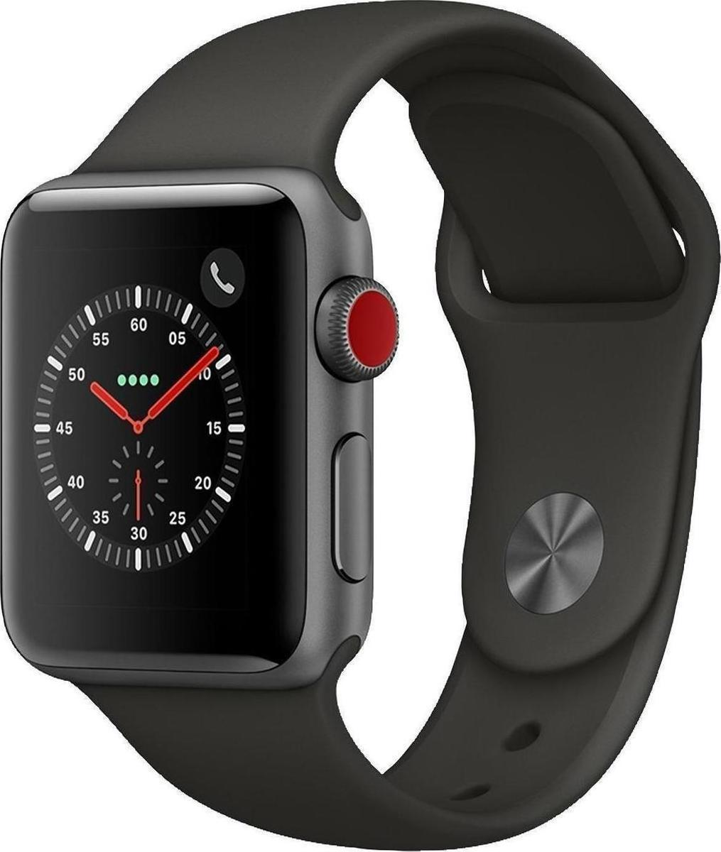 Apple Watch Series 3 Cellular 38mm Grey Aluminium Black Sport Band Πληρωμή έως 24 δόσεις