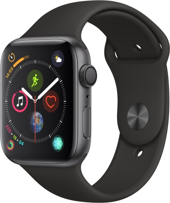 Apple Watch Series 4 44mm Aluminium Space Grey Black Sport Band MU6D2 Πληρωμή έως 24 δόσεις*