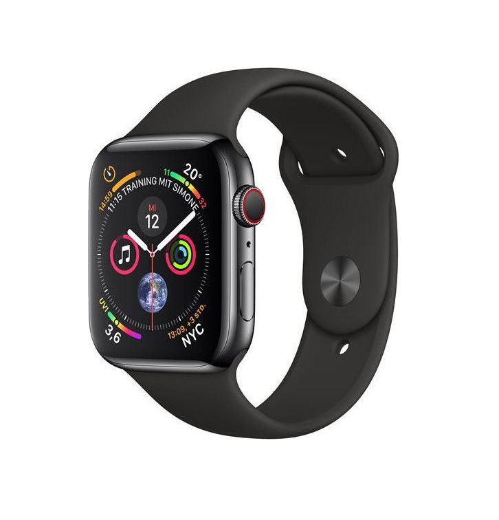 Apple Watch Series 4 44mm Cellular Stainless Steel Black MTX22 Πληρωμή έως 24 δόσεις
