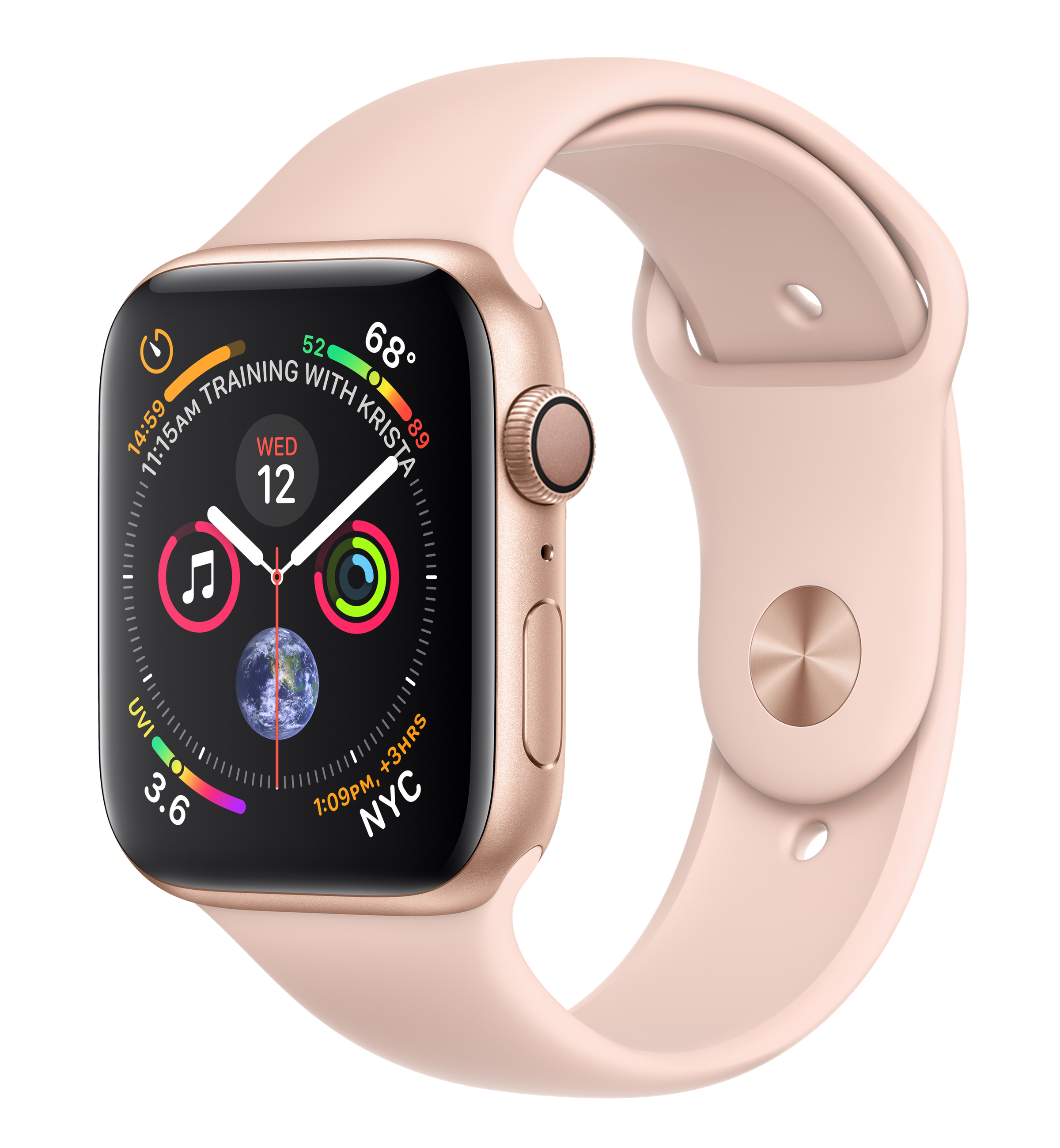 Apple Watch Series 4 44mm Aluminium Gold Pink Sport Band MU6F2 Πληρωμή έως 24 δόσεις