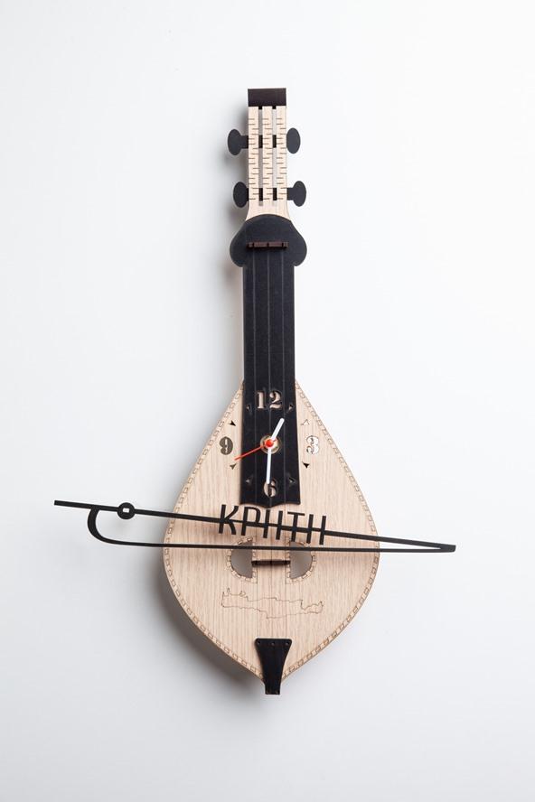 Ξύλινο Ρολόι Μουσικό Όργανο Κρητική Λύρα
