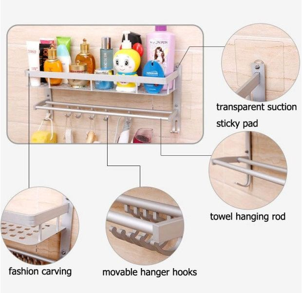 Αυτοκόλλητο, πολυλειτουργικό αλουμίνιο ράφι αποθήκευσης με ράγα και γάντζους