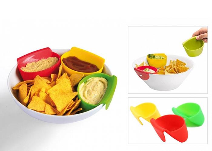 Πρωτότυπες θήκες σιλικόνης για σάλτσες και ντιπ – Σετ 3 Τεμαχίων
