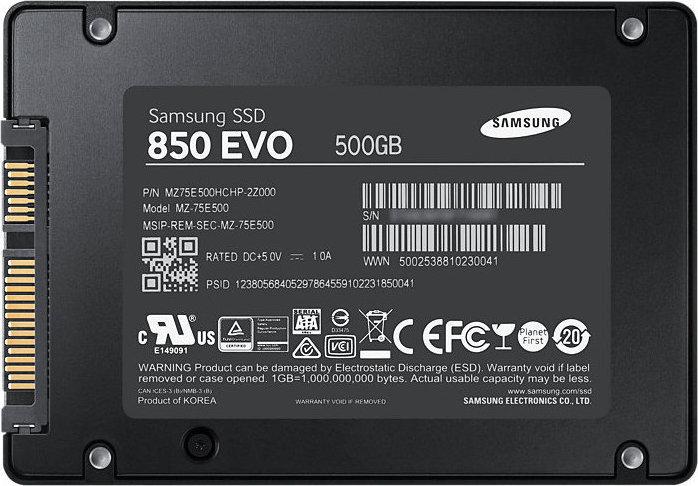 Samsung 850 Evo 500GB Σκληρός Δίσκος SSD 2.5'' Sata 3