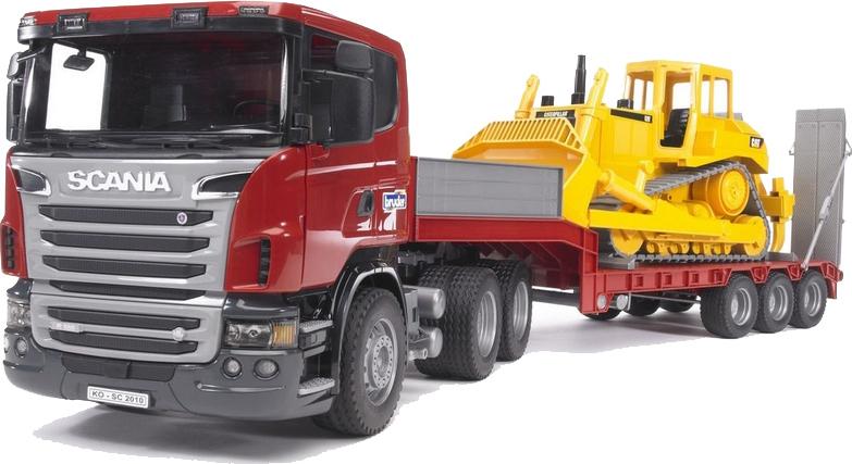 Bruder Επικαθήμενο Φορτηγό Scania με Μπουλντόζα Cat 03555