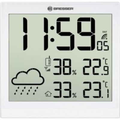 Bresser TemeoTrend JC LCD Weather Wall Clock White
