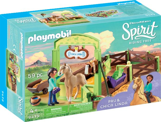 Playmobil Spirit Riding Free: Horse Box Pru & Chica Linda 9479