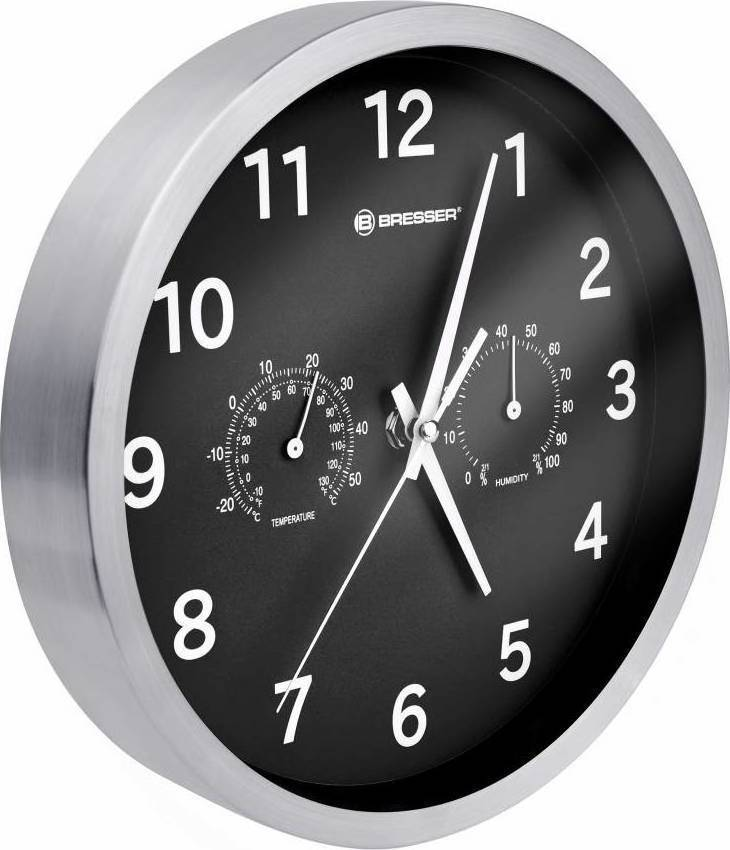Bresser MyTime Thermo-/ Hygro- Wall Clock 25cm - Black