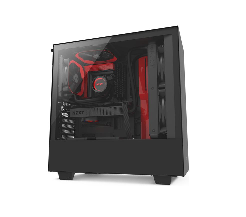 NZXT H500 Window Midi Tower CA-H500B-BR Black/Red