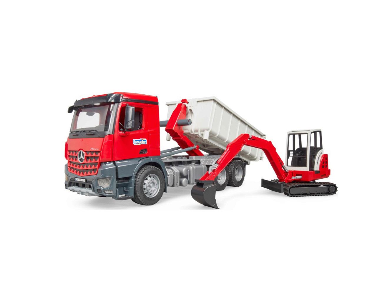 Bruder MB Arocs Roll-Off Container & Schaeff Mini Excavat  03624