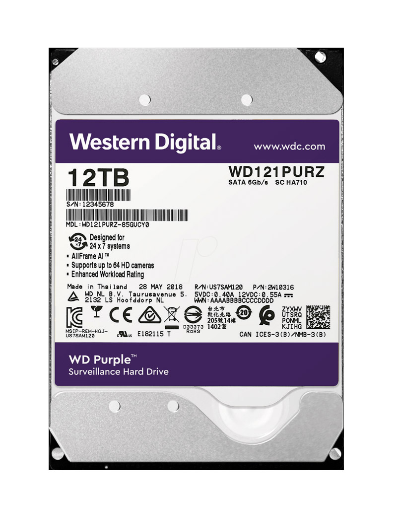 Western Digital Purple HDD 12TB WD121PURZ Σκληρός Δίσκος 3.5'' Sata 3