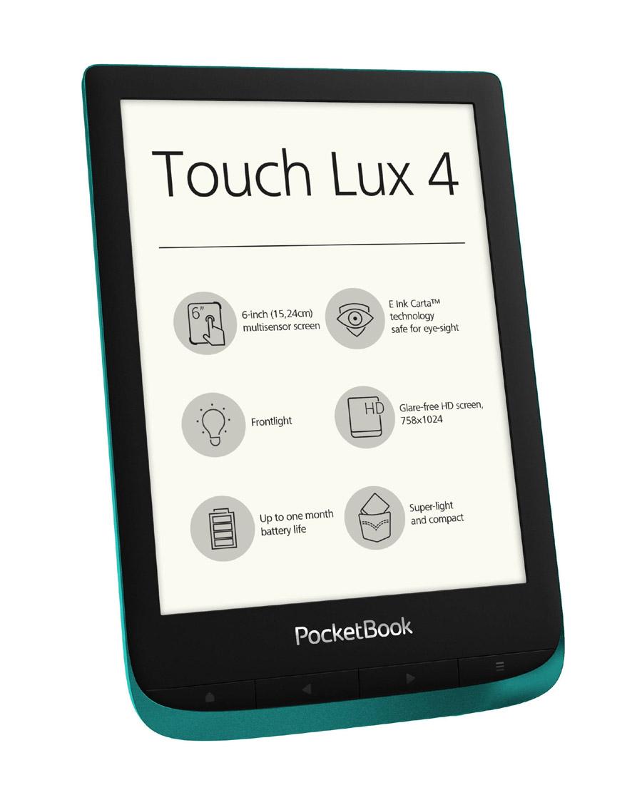 "Pocketbook Touch Lux 4 6"" B627-C-WW Ebook Reader Emerald"