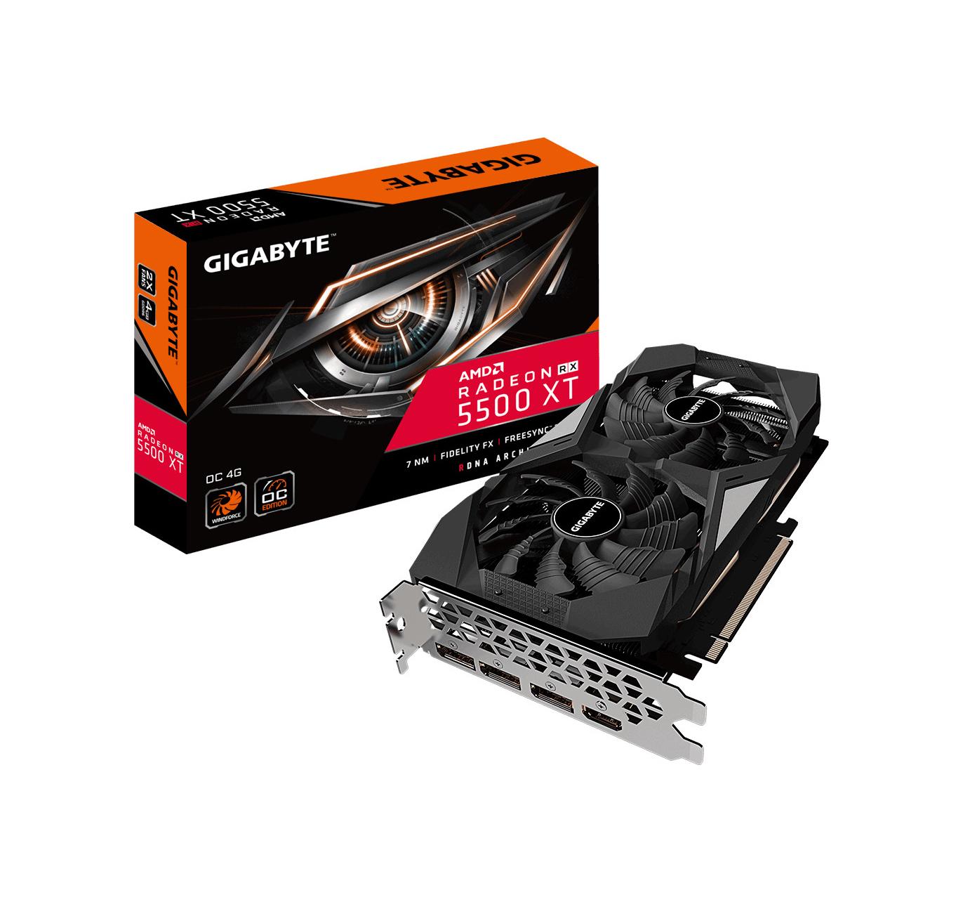 Gigabyte Radeon RX 5500 XT 4GB OC Κάρτα Γραφικών GV-R55XTOC-4GD