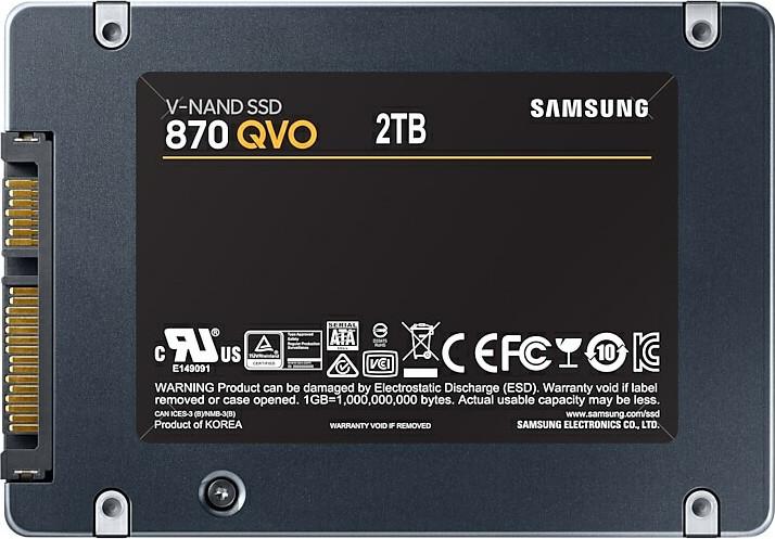 Samsung 870 QVO 2TB Σκληρός Δίσκος SSD* 2.5'' Sata 3 MZ-77Q2T0BW