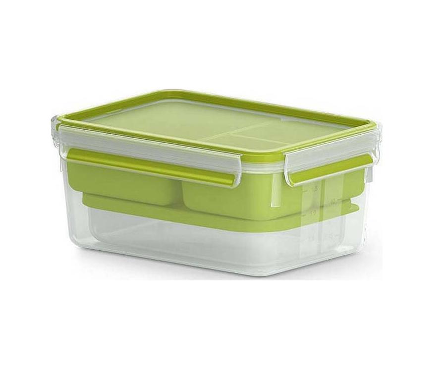 Emsa Brunchbox Clip&Go 1200ml 518098 Δοχείo Φαγητού Transparent/Green