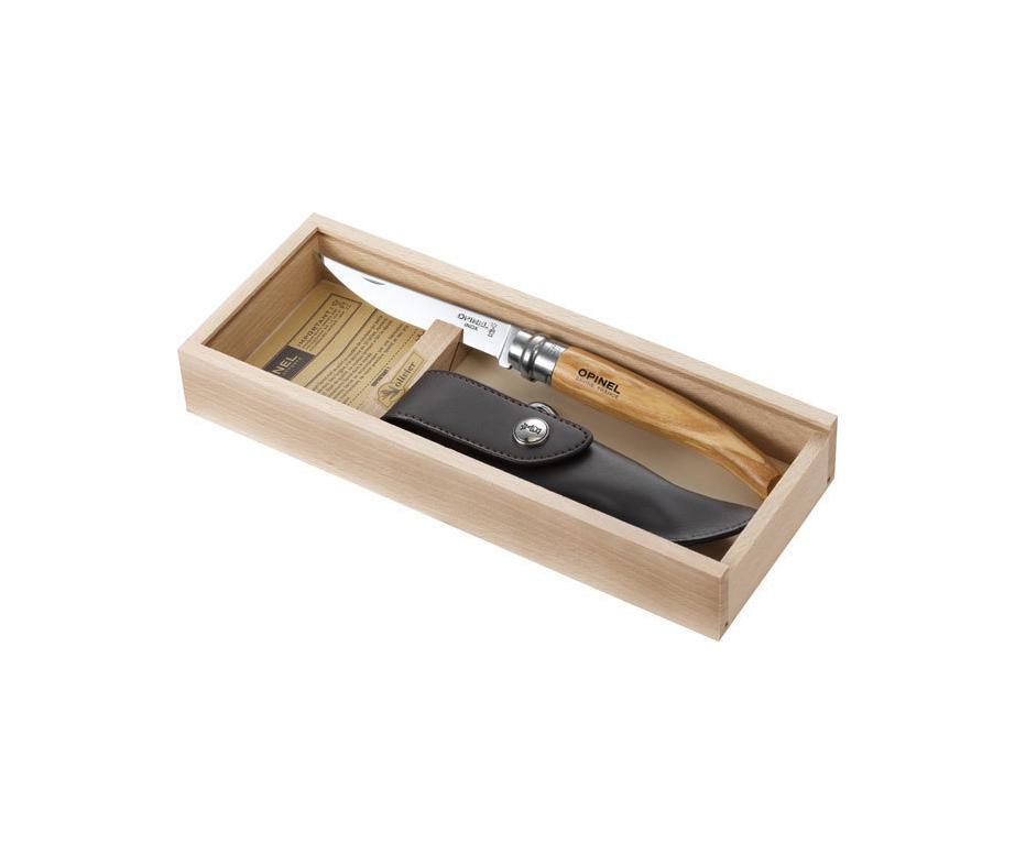 Opinel Pencil Box Slim Line Olive Wood No. 10 + Sheath 001090 Σουγιάς