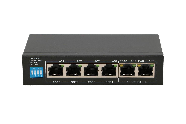 Extralink EUROS V2 PoE Switch  4x 100Mb/s PoE/PoE+ 2x RJ45 Uplink 100Mb/s 60W
