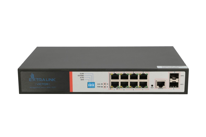 Extralink VICTOR PoE Switch 8x Gigabit PoE/PoE+, 2x SFP, 1x Console Port, 150W, Managed