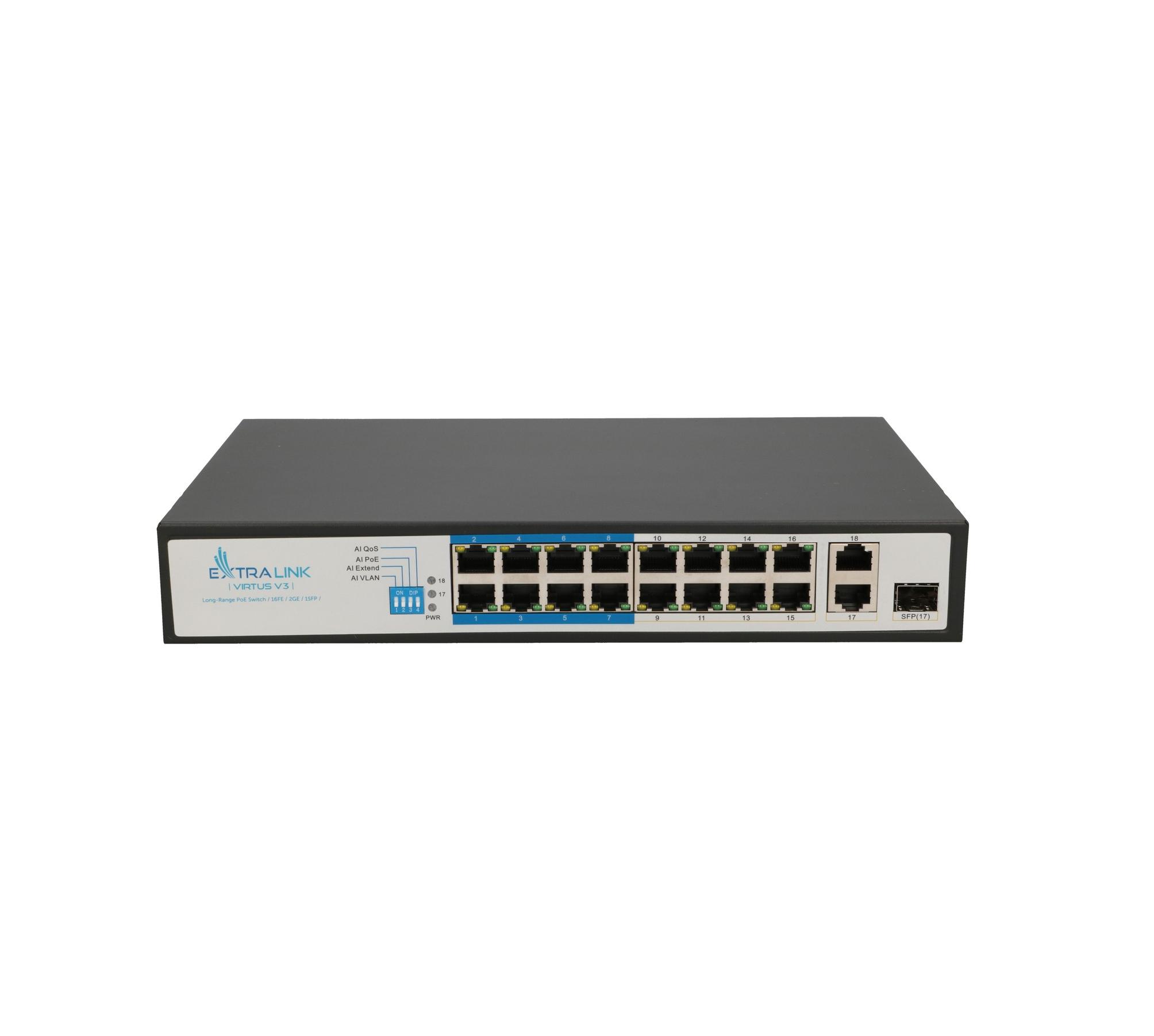 Extralink VIRTUS V3 PoE Switch 16x 100Mb/s PoE/PoE+, 2x Gigabit RJ45 + 1x SFP, 150W