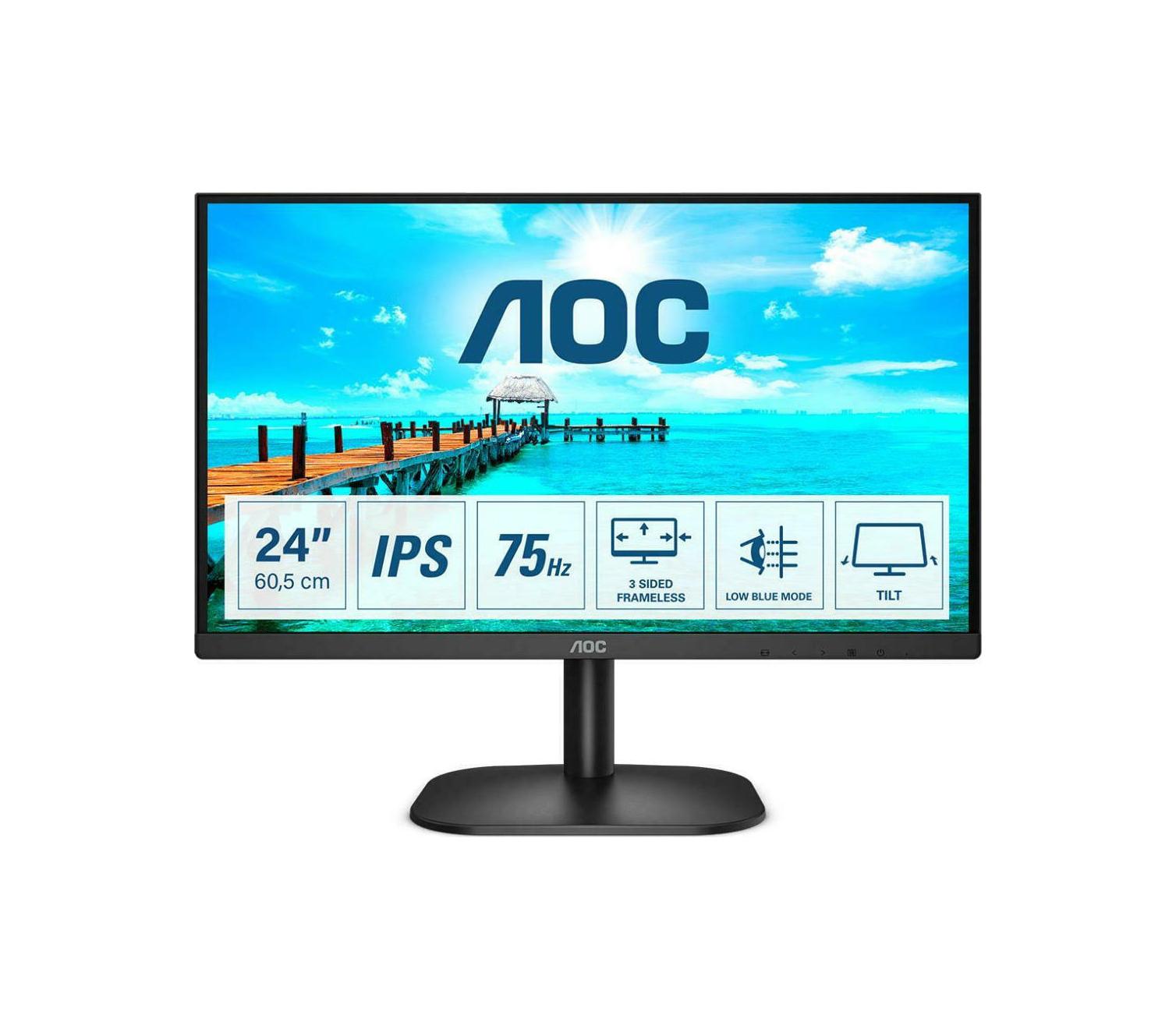 """AOC 24B2XD Monitor 23.8"""" FHD Οθόνη Πληρωμή έως 24 δόσεις"""