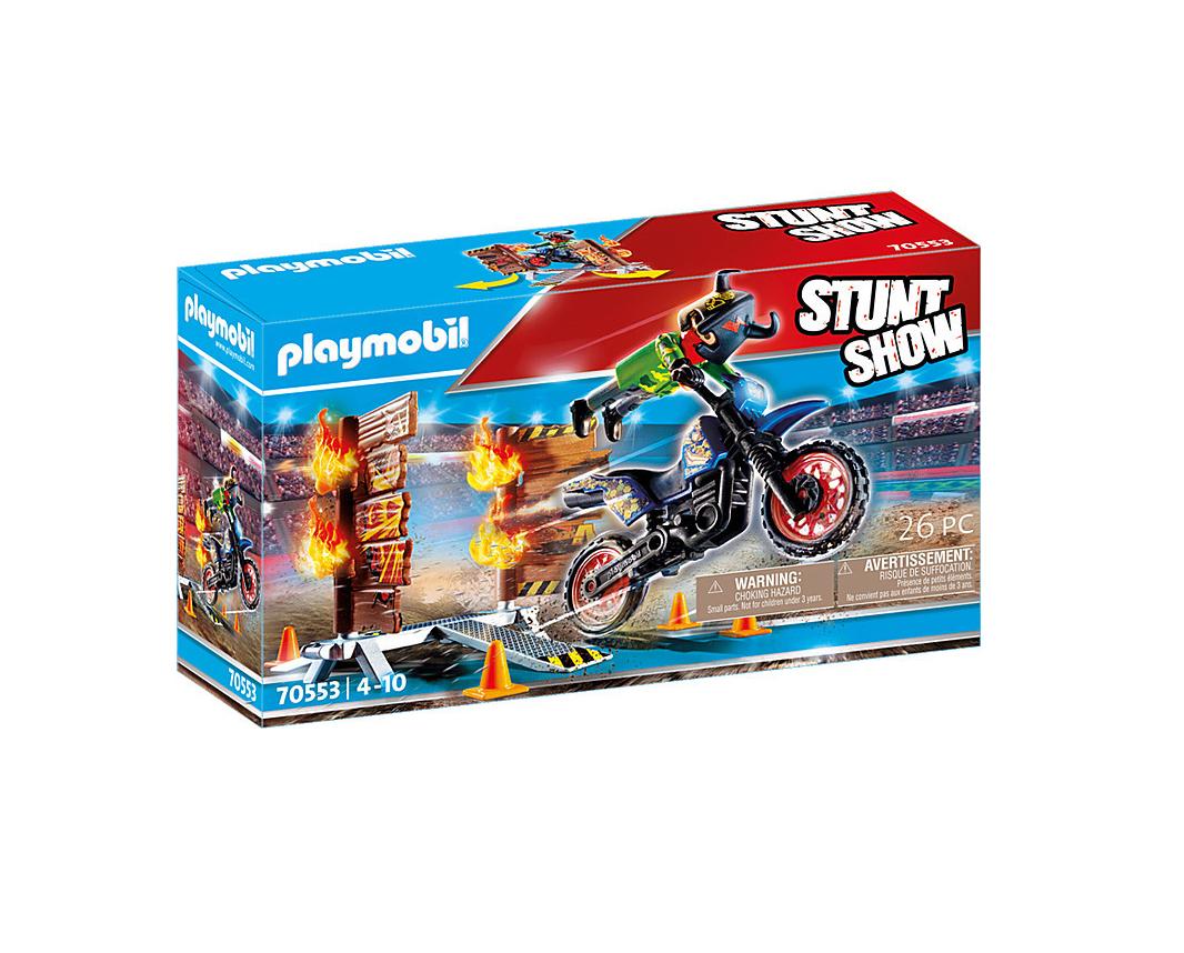 Playmobil Stunt Show: Μοτοσικλετιστής και Τοίχος Φωτιάς 70553