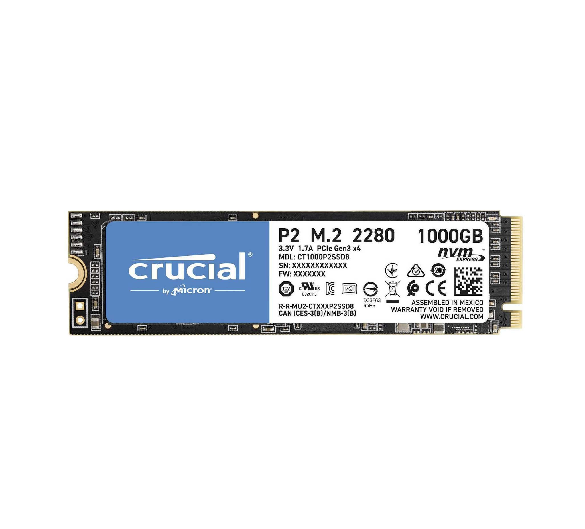 Crucial P2 SSD 1TB M.2 NVMe Σκληρός Δίσκος SSD CT1000P2SSD8
