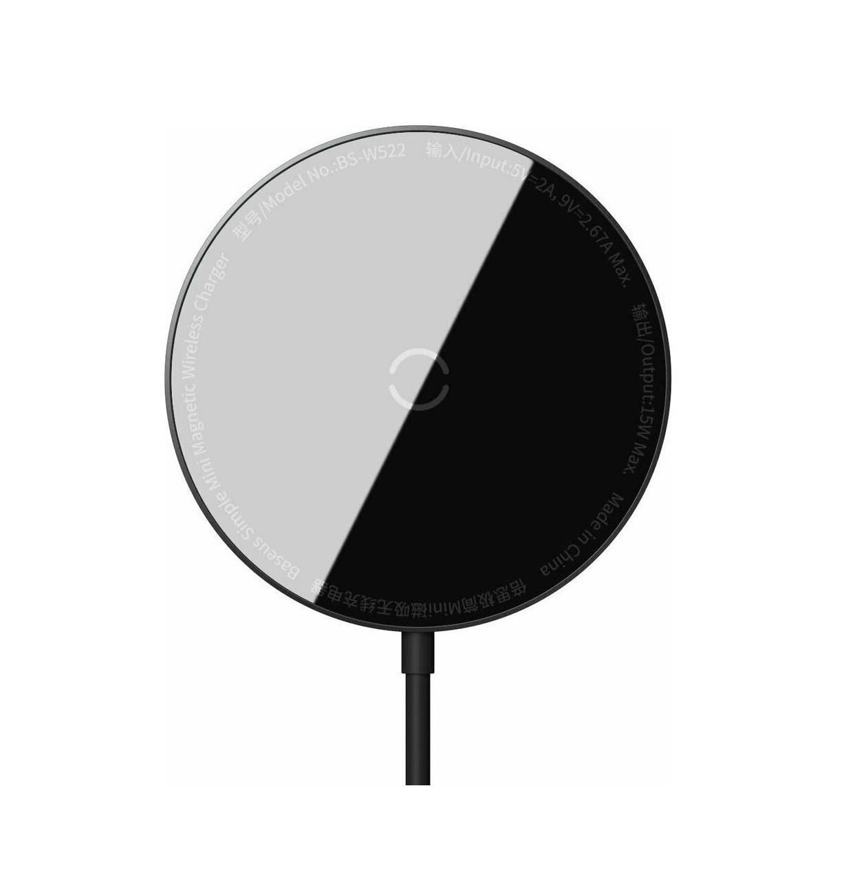 Baseus Wireless charger - Simple Mini Magnetic WXJK-F01 IP12 + Type C 1.5m Black