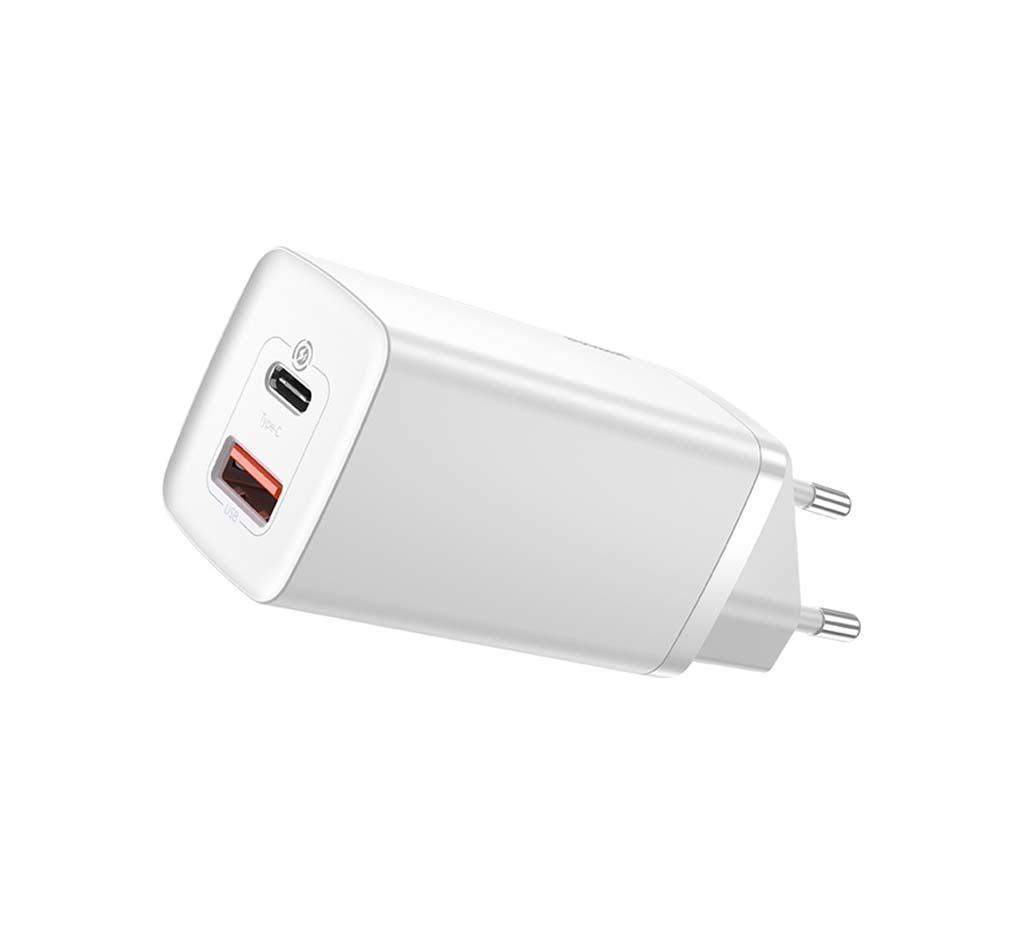 Baseus Travel Charger - PD65W + USB CCGAN2L-B02 plug GaN2 Lite White