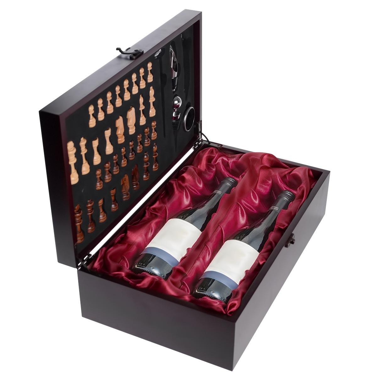 Ξύλινη πολυτελής βαλίτσα με σετ κρασιού 5 τεμαχίων και σκάκι - 1252 33555