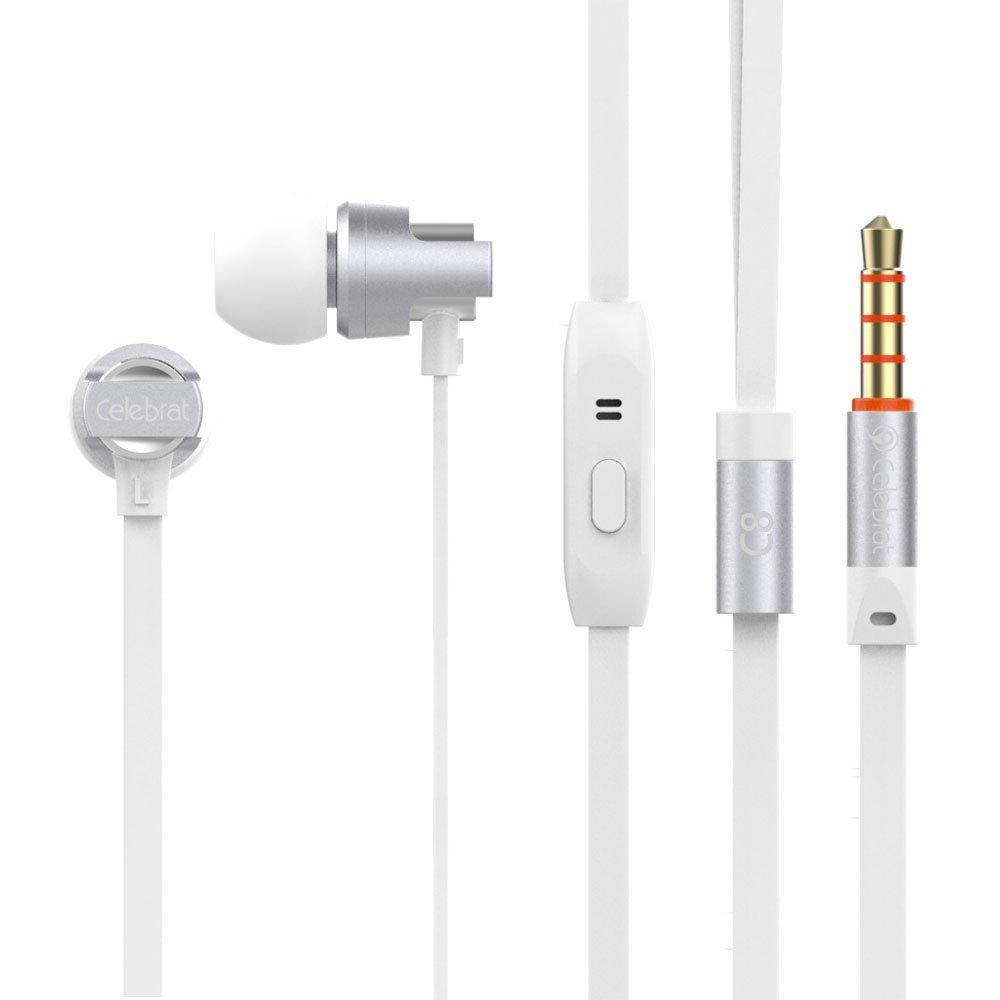 Ακουστικά hands free Celebrat C8 με μικρόφωνο - Λευκό - 1252 32295