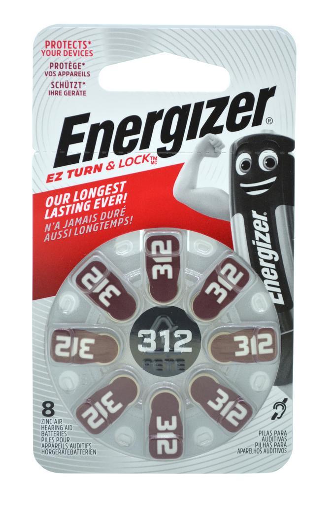 Μπαταρίες Ακουστικών Βαρηκοΐας Energizer EZ Turn & Lock 312 1.4V Τεμ. 8
