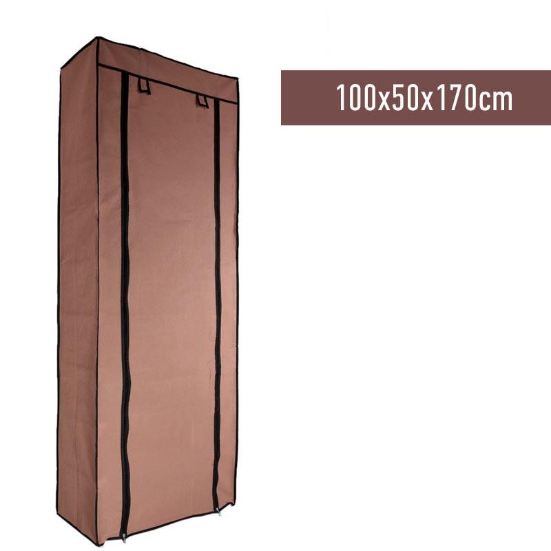 Υφασμάτινη ντουλάπα ρούχων με 7 ράφια (100x50x170cm) - Καφέ - 1252 11920