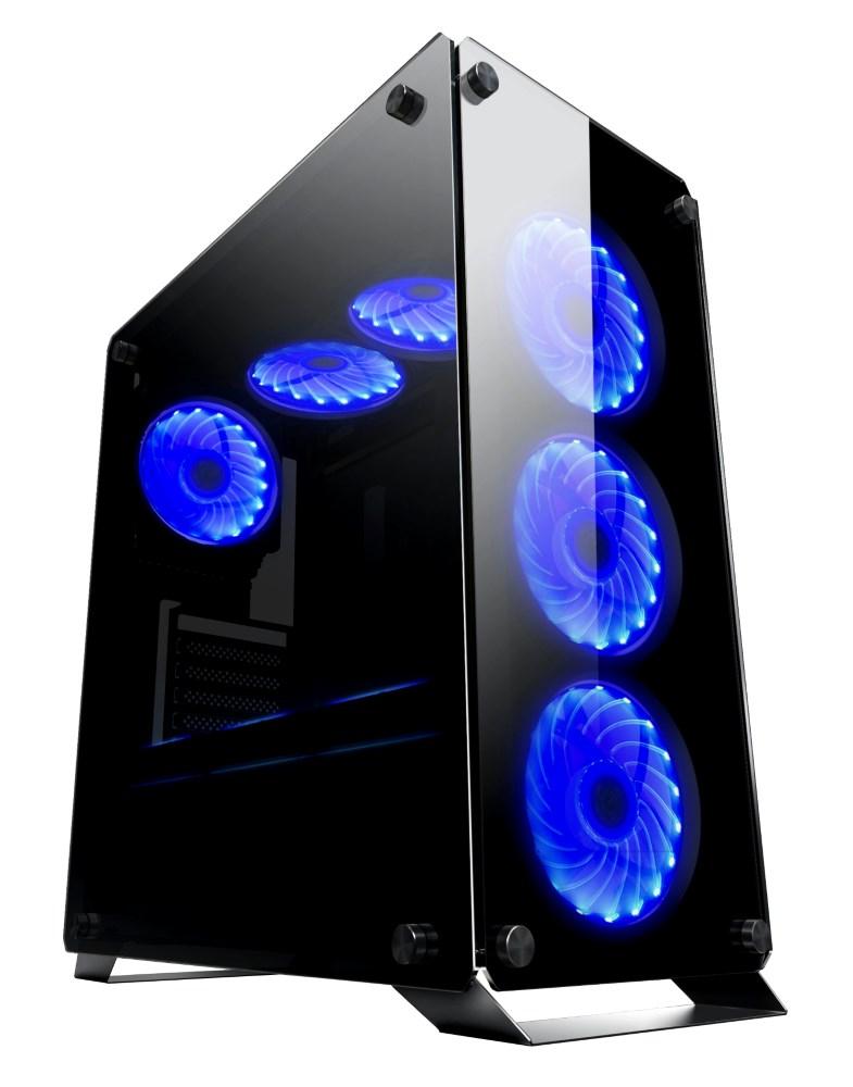 POWERTECH Gaming case PT-902, full tempered glass, 4x Dual ring RGB fans - POWERTECH 22575