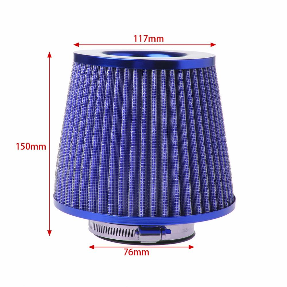 Κωνικό φίλτρο αέρα διπλής ροής φιλτροχοάνη αυτοκινήτου 76mm - Μπλε - OEM 52176