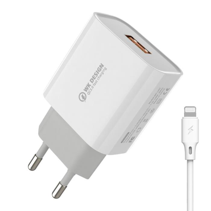 Quick Charger 3.0 18W WK WP-U57 Combo + I6 cable