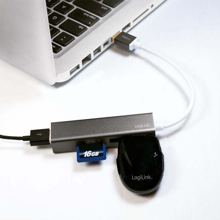 Hub USB 3.0 with Card Reader Logilink UA0306 - LOGILINK DOM030625