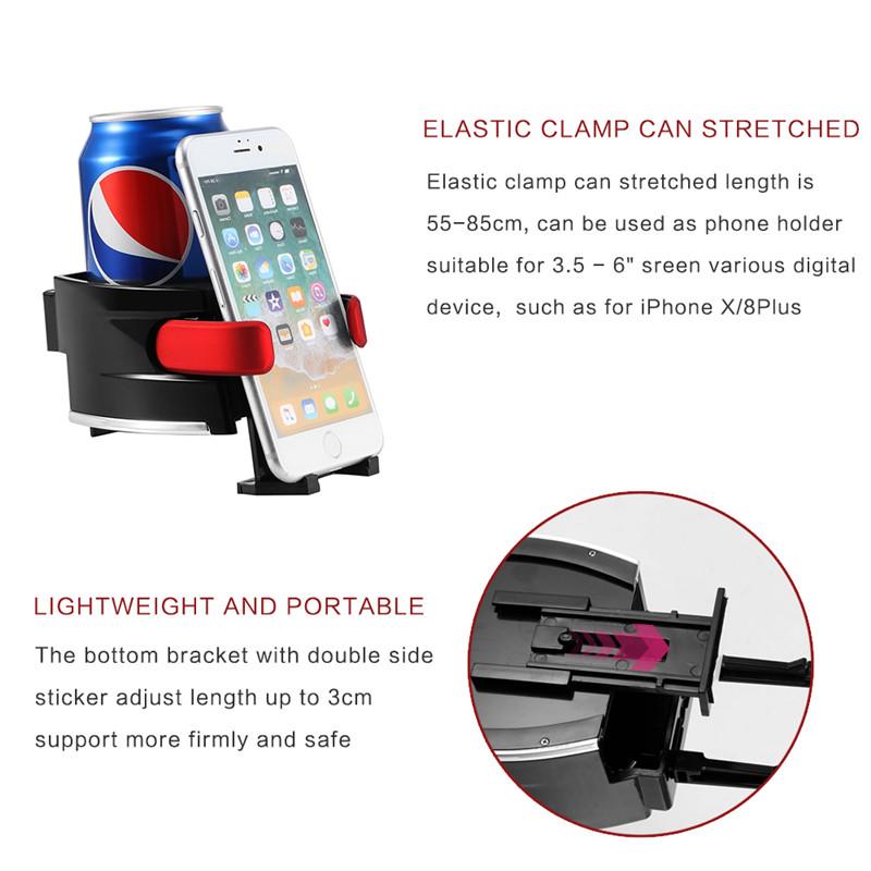 Ποτηροθήκη για τον αεραγωγό του αυτοκινήτου με βάση στήριξης smartphone - Μαύρο/Κόκκινο - 1252 34424