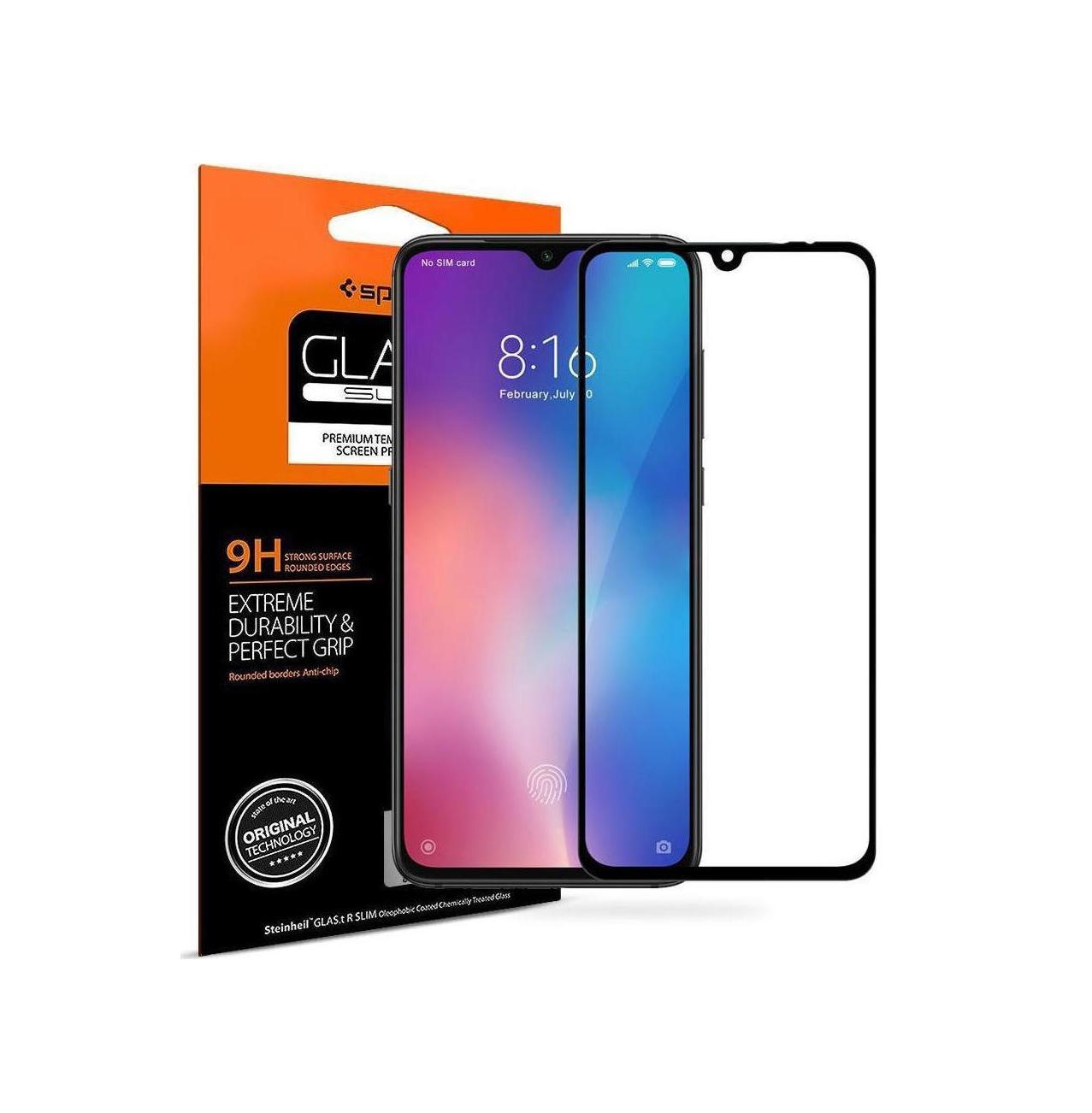 Spigen GLAS.tR Full Face Tempered Glass για Xiaomi Mi 9 Black