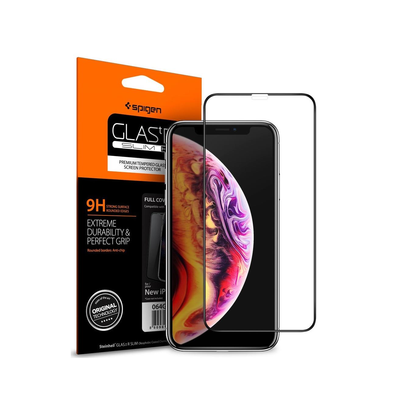 Spigen GLAS.tR Full Face Tempered Glass για iPhone 11/XR Black 064GL25233