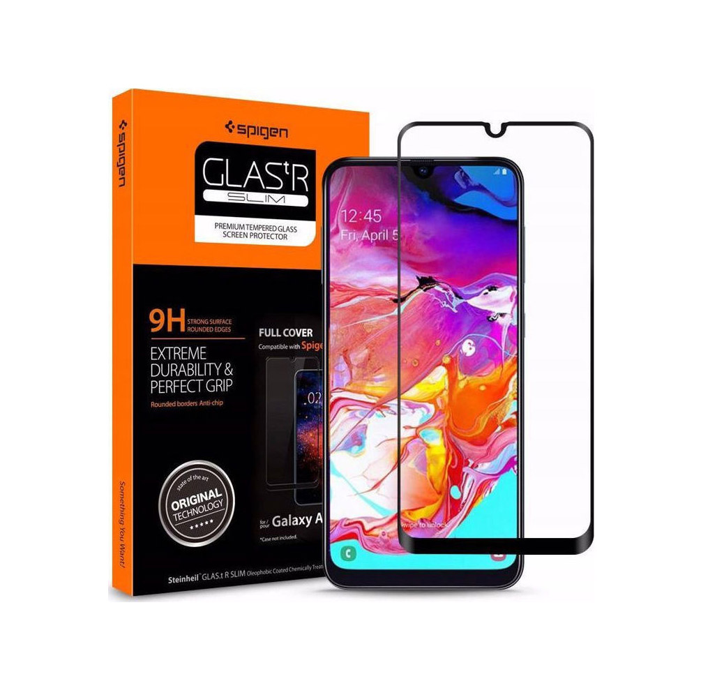 Spigen GLAS.tR Full Face Tempered Glass για Samsung Galaxy A70 Black 620GL26384