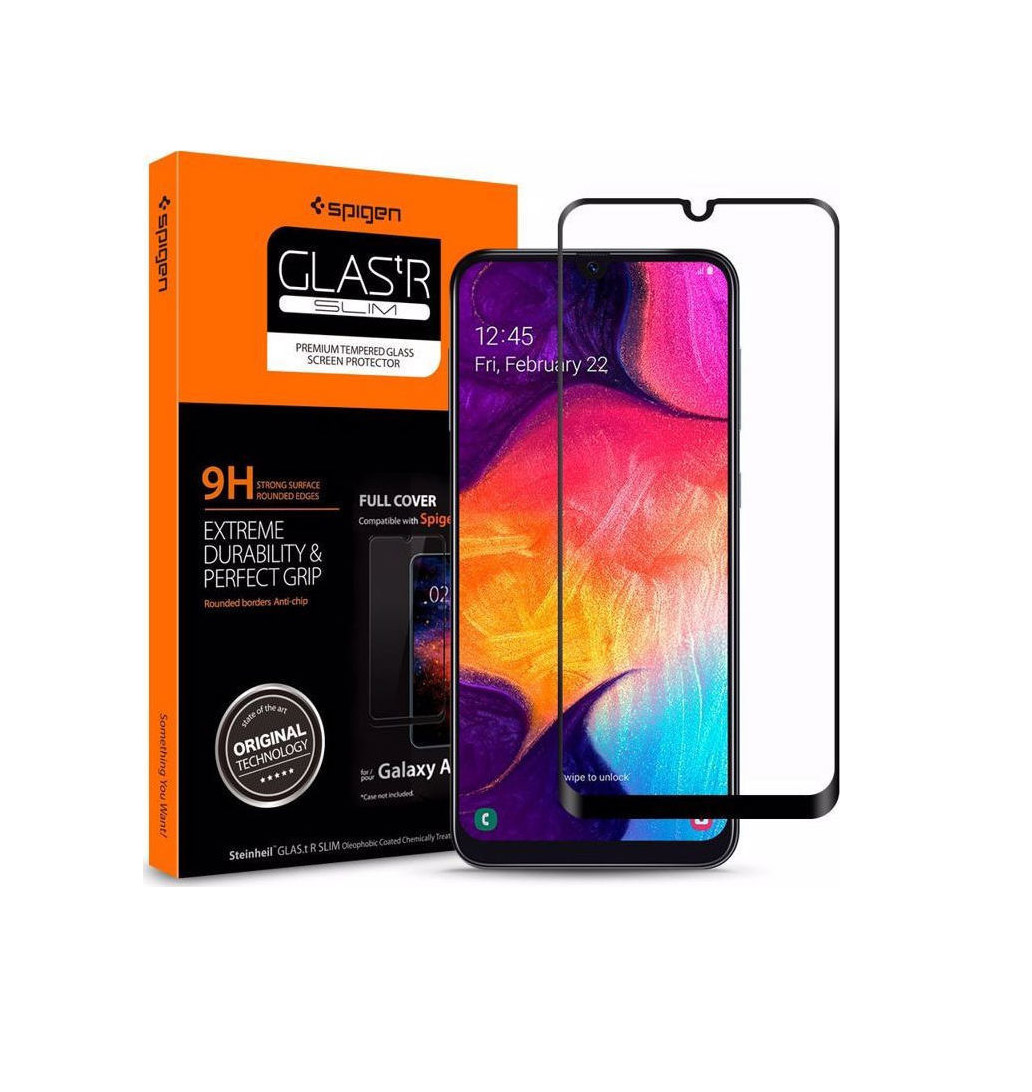 Spigen GLAS.tR Full Face Tempered Glass για Samsung Galaxy A50/A30 Black 611GL26283