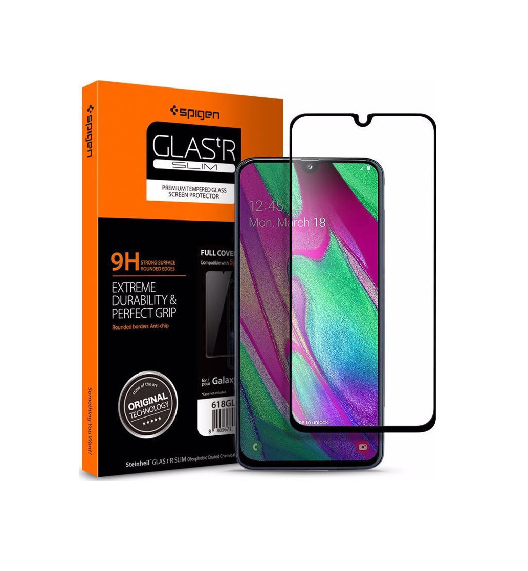 Spigen GLAS.tR Full Face Tempered Glass για Samsung Galaxy A40 Black 618GL27302