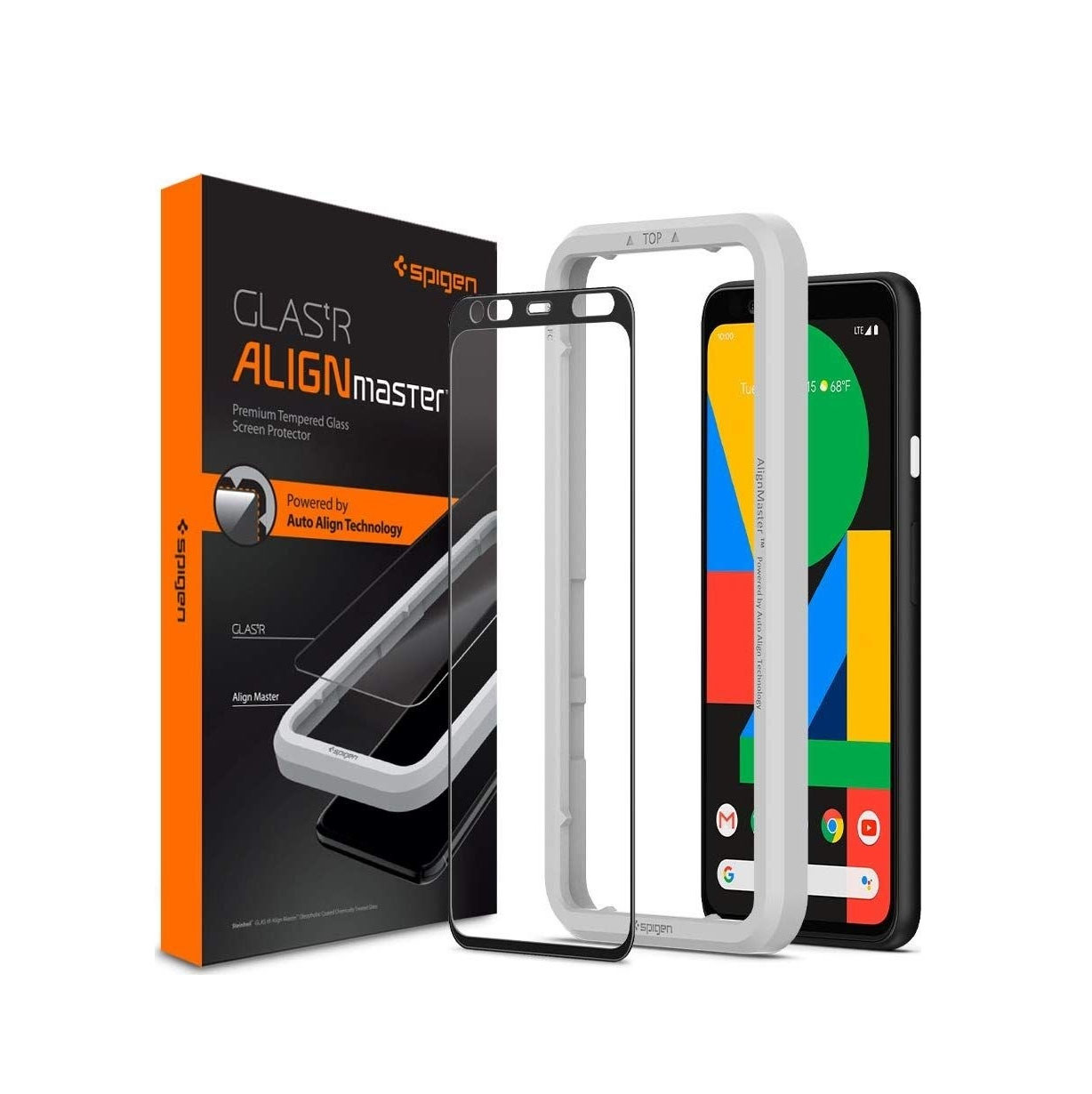 Spigen AlignMaster Full Face Tempered Glass για Google Pixel 4 Black AGL00381