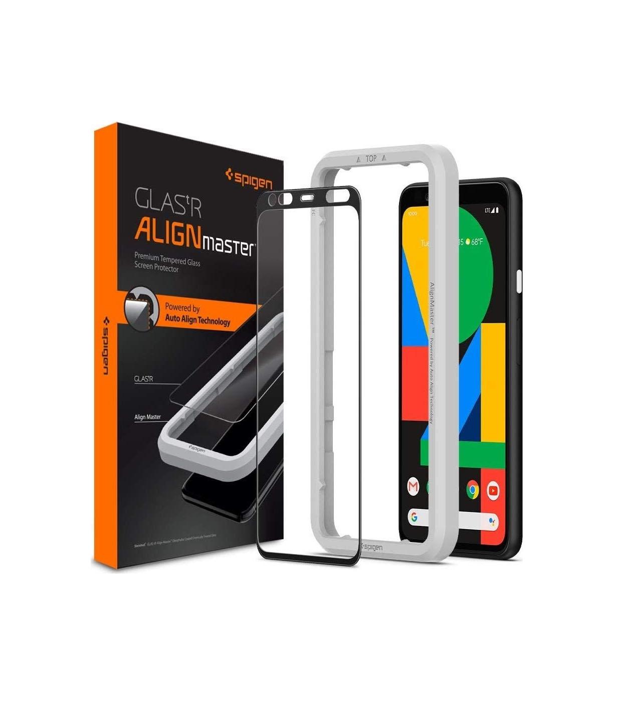 Spigen AlignMaster Full Face Tempered Glass για Google Pixel 4 XL Black AGL00380