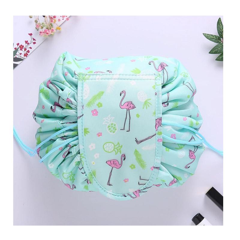 Αναδιπλούμενη Τσάντα Καλλυντικών με Κορδόνι Flamingo Χρώματος Πράσινο SPM DB4009 - DB4009