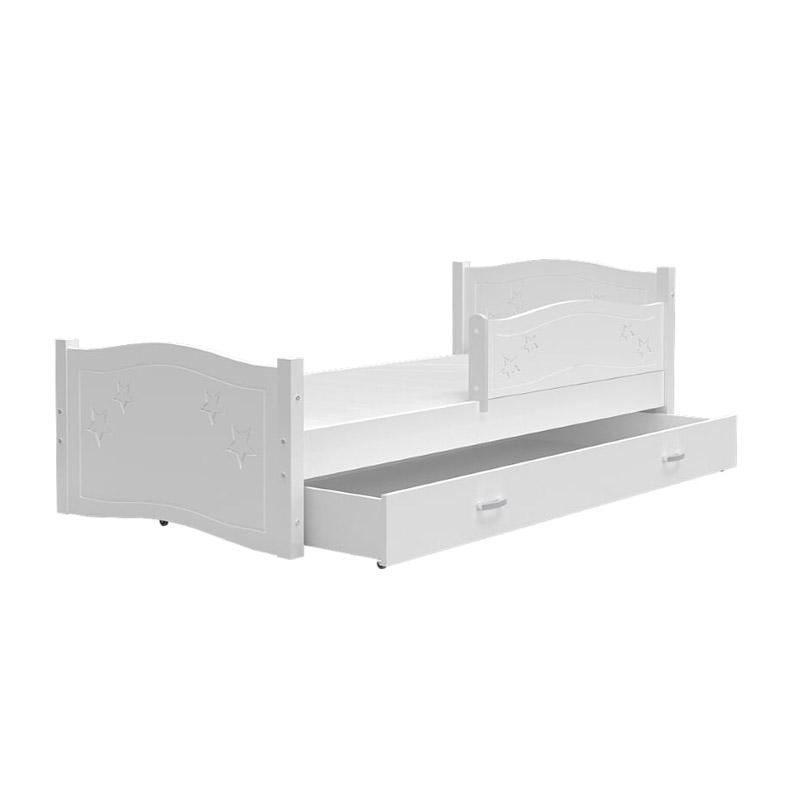 Ξύλινο Παιδικό Μονό Κρεβάτι με Στρώμα και 1 Συρτάρι 163 x 85 cm Daisy SPM JAN-DAISY160 - JAN-DAISY160